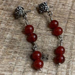 925 Sterling Silver Red Stone Earrings